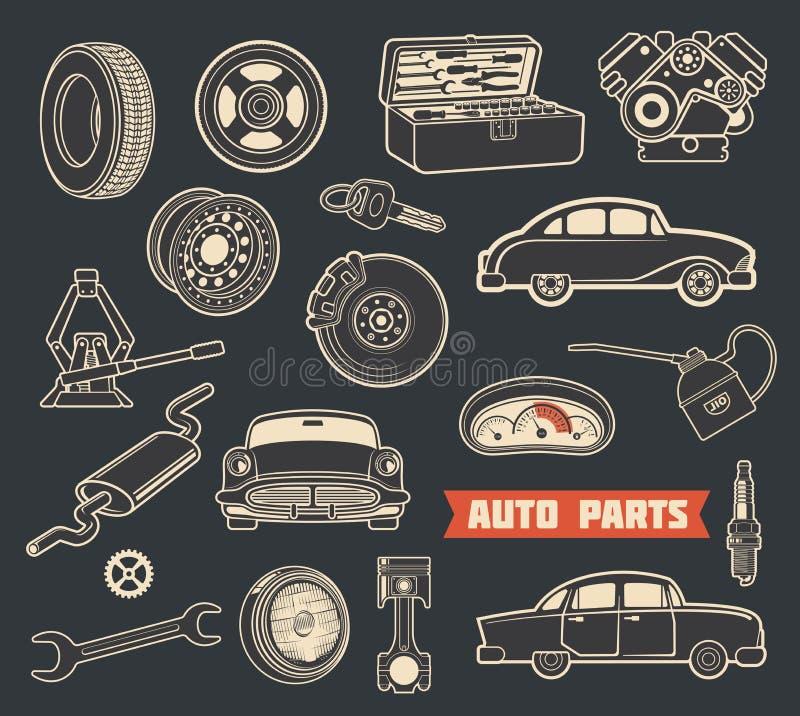 Auto parts retro symbols with vintage car details stock illustration