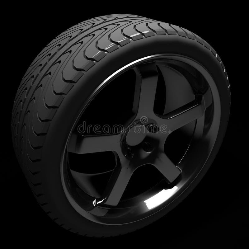 Auto pneu e roda extravagantes ilustração do vetor