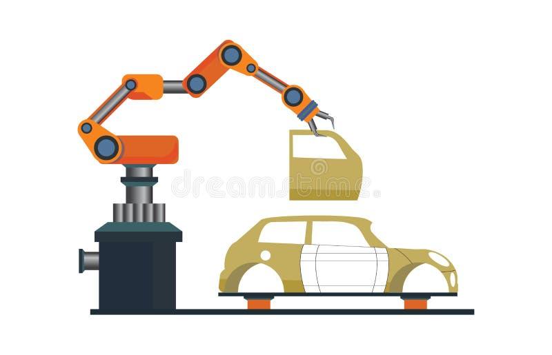 Auto productieproces met slimme robotachtige automobiel royalty-vrije illustratie