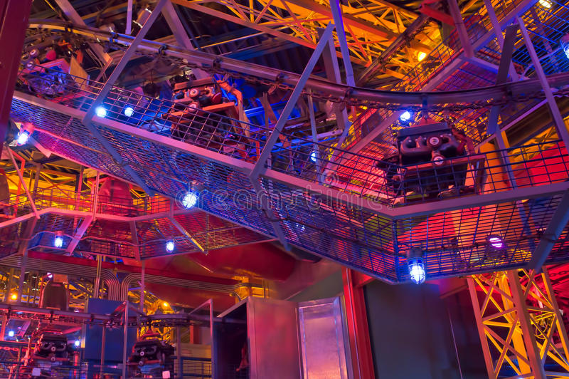Auto Production. Simulated auto production line underneath the Test Track at Epcot stock photography