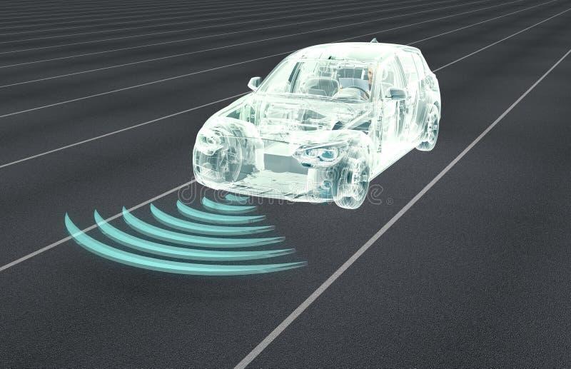 auto que conduz carros do computador eletrônico na estrada ilustração do vetor