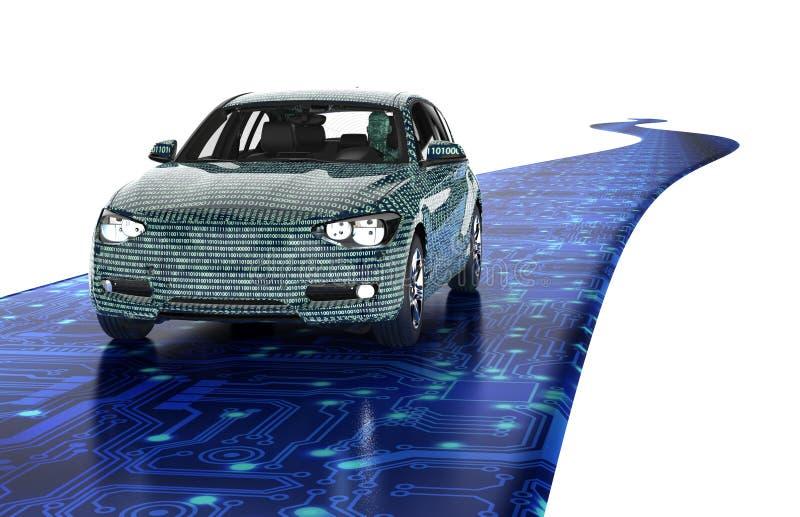Auto que conduz o carro do computador eletrônico na estrada ilustração royalty free