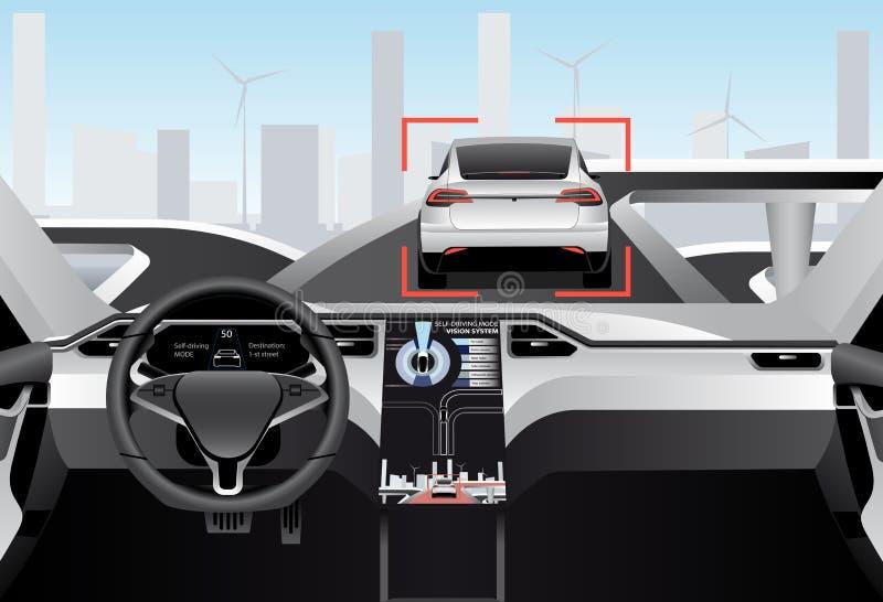 Auto que conduz o carro em uma estrada Vista interna ilustração stock