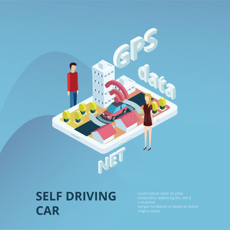 Auto que conduz o conceito do carro ilustração royalty free