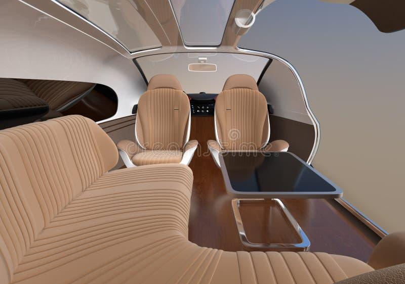 Auto que conduz o interior do carro elétrico com cadeira de sala de estar e assentos enfrentando traseiros ilustração royalty free