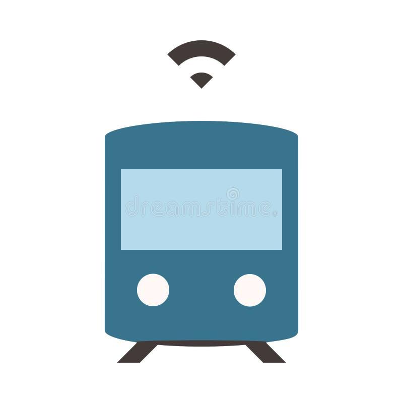 Auto que conduz o metro - plano coloriu o ícone - azul ilustração stock