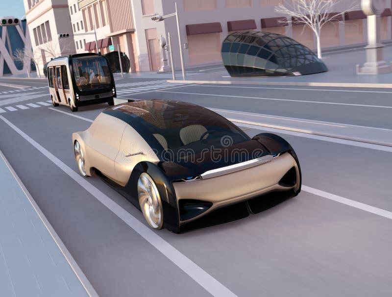 Auto que conduz o sedan que conduz rapidamente na estrada no por do sol Ônibus autônomo que segue o carro ilustração royalty free