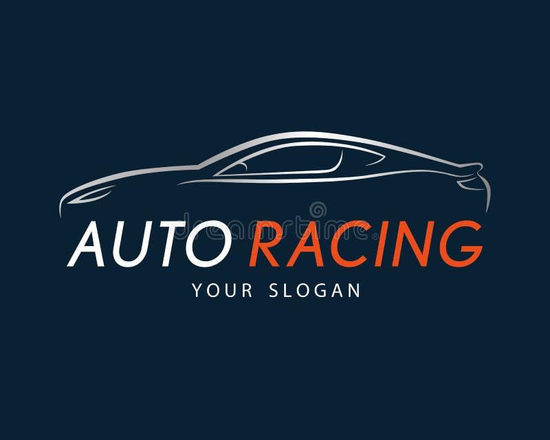 Auto racing symbol on dark blue background. Silver sport car log vector illustration