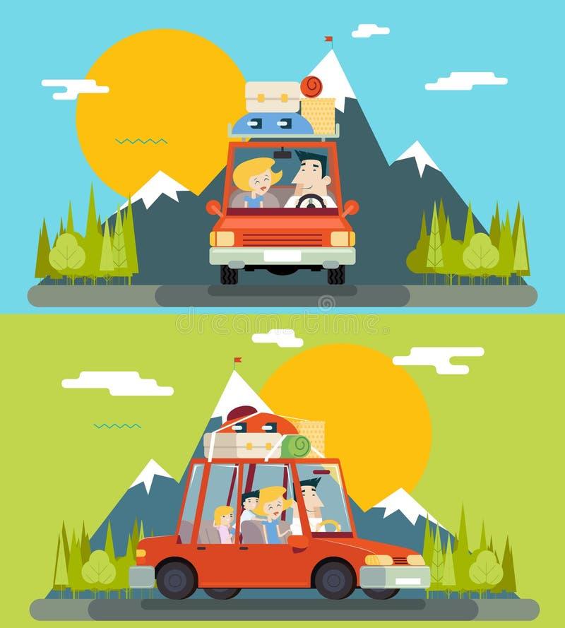 Auto-Reise-Familien-erwachsenes Kinderstraßen-Konzept-flacher Design-Ikonen-Berg Forest Background Vector Illustration lizenzfreie abbildung