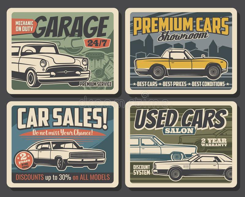 Auto repair, car sales center vintage posters royalty free illustration