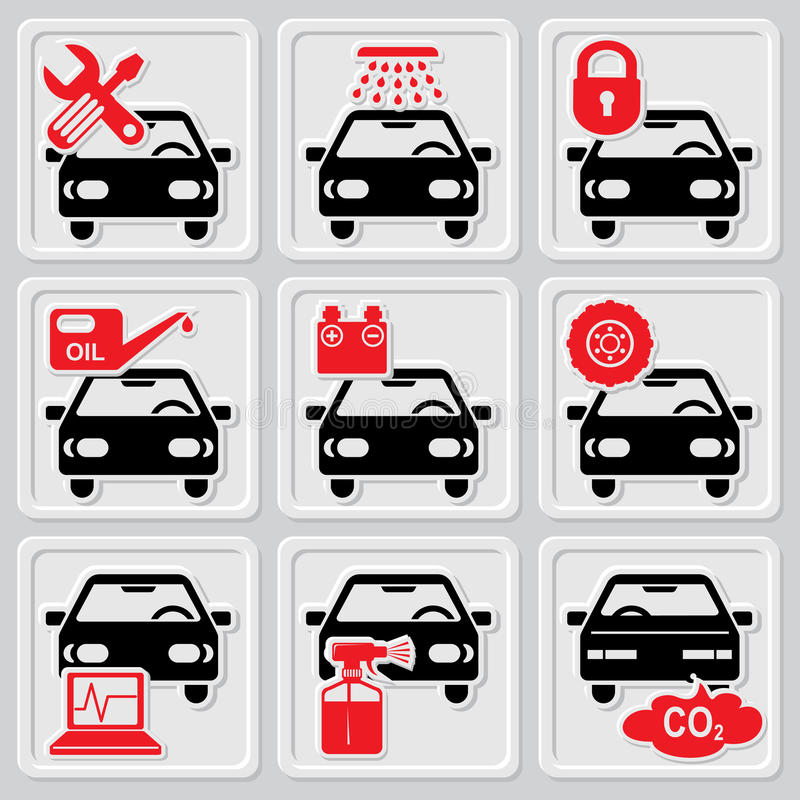 Auto repair icons. Set vector icons of auto repair and service stock illustration