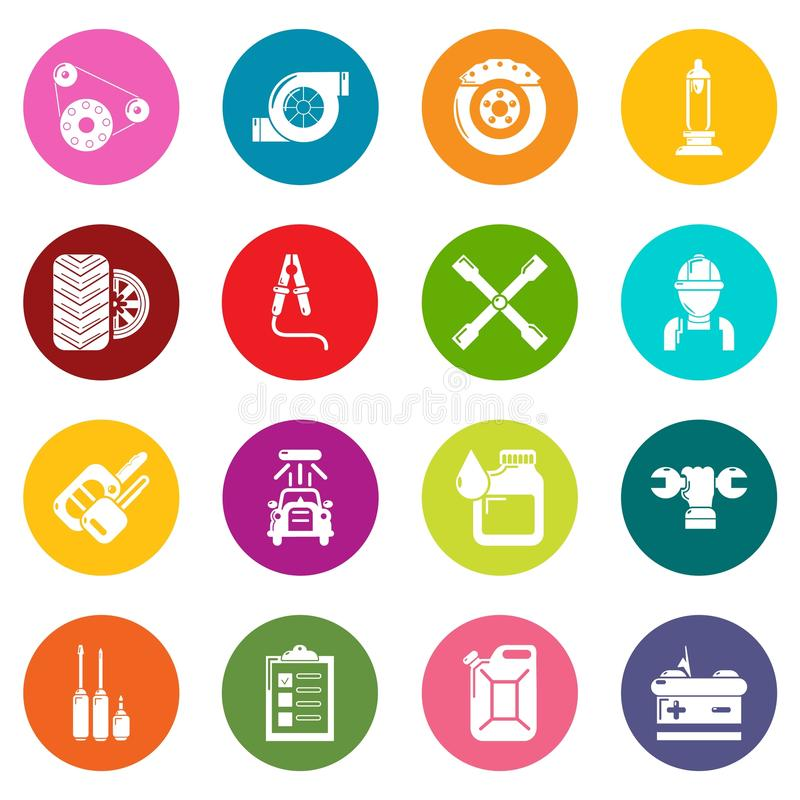 Auto repair icons set colorful circles vector vector illustration