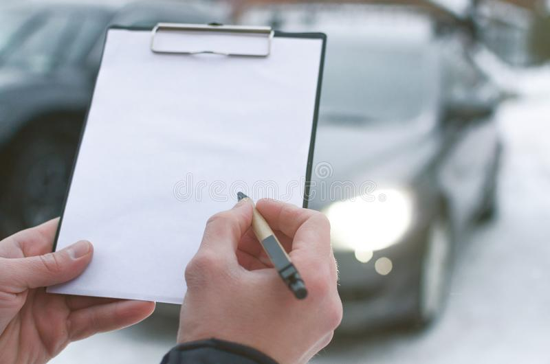 Auto repair list. Invoice for payment for car repair concept or car insurance document mockup. Act of receiving the transfer of the vehicle. Car fix list stock image