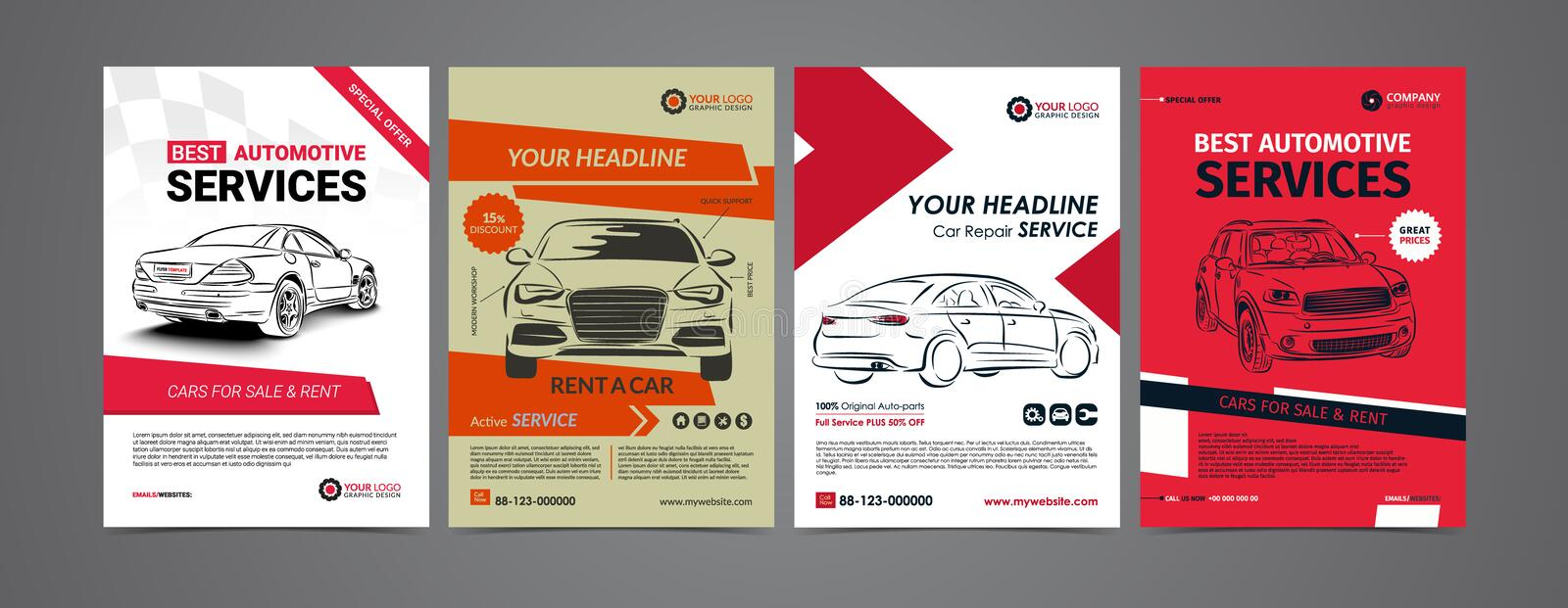 Auto repair Services business layout templates set, cars for sale royalty free illustration