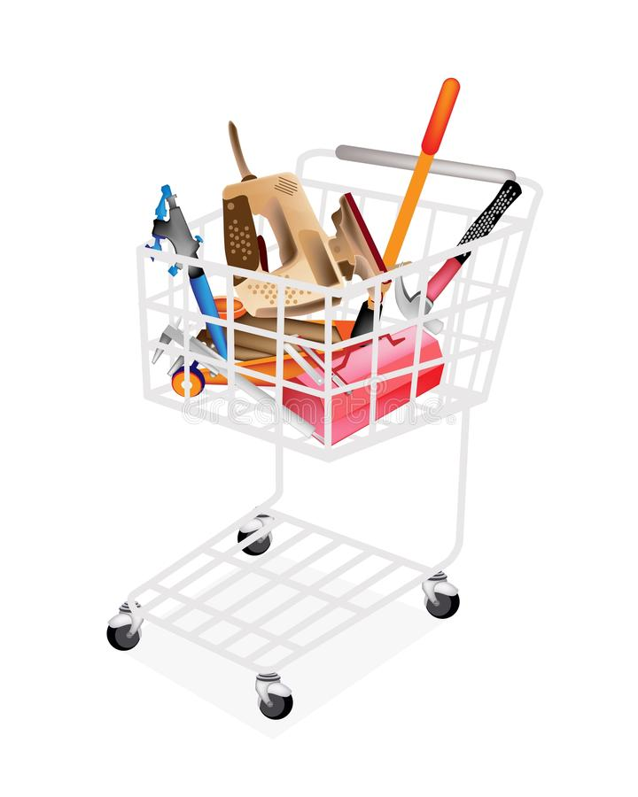 Auto Repair Tool Kits in Shopping Cart royalty free illustration