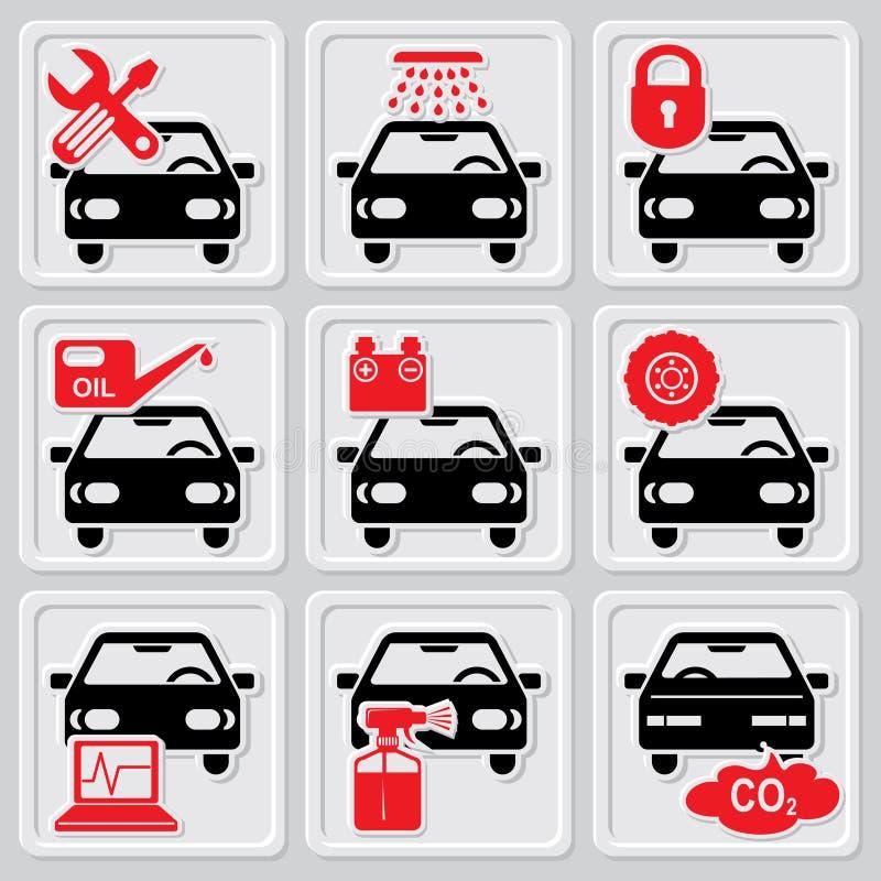 Auto reparatiepictogrammen stock illustratie