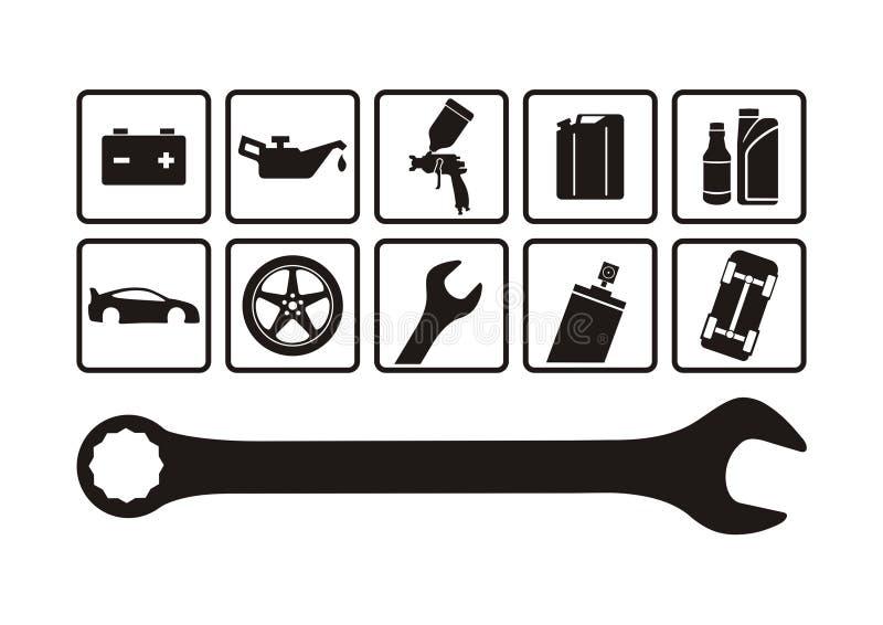 auto reparation royaltyfri illustrationer
