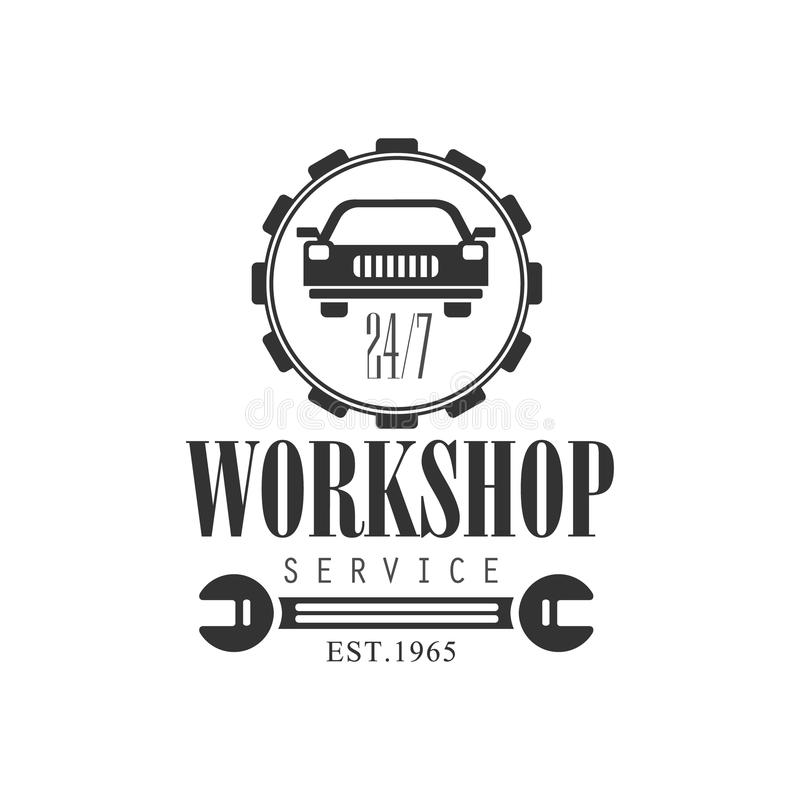 Auto-Reparatur-Werkstatt-Service-Schwarzweiss-Aufkleber-Design ...