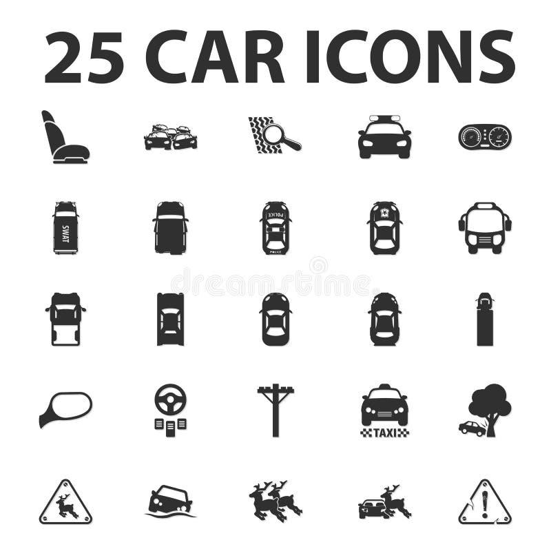 Auto, reparieren 25 schwarze einfache Ikonen, die für Netz eingestellt werden lizenzfreie abbildung