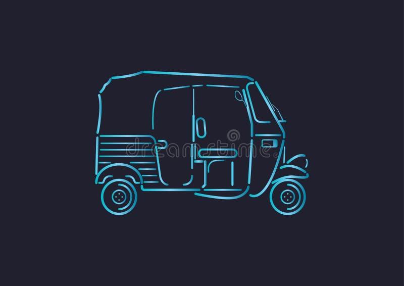 Auto rickshaw gradient line illustration stock illustration