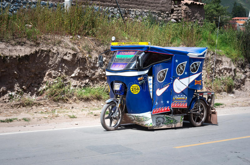 Auto rickshaw in Urubamba, Peru royalty free stock photography