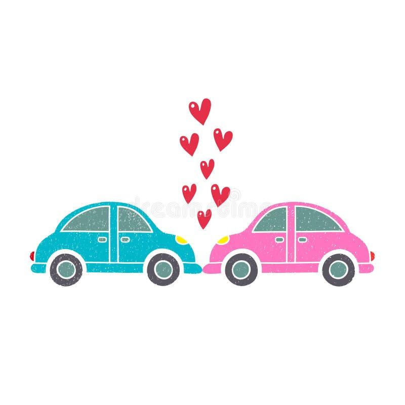 Auto's in de kus Ongevallen en paren vector illustratie