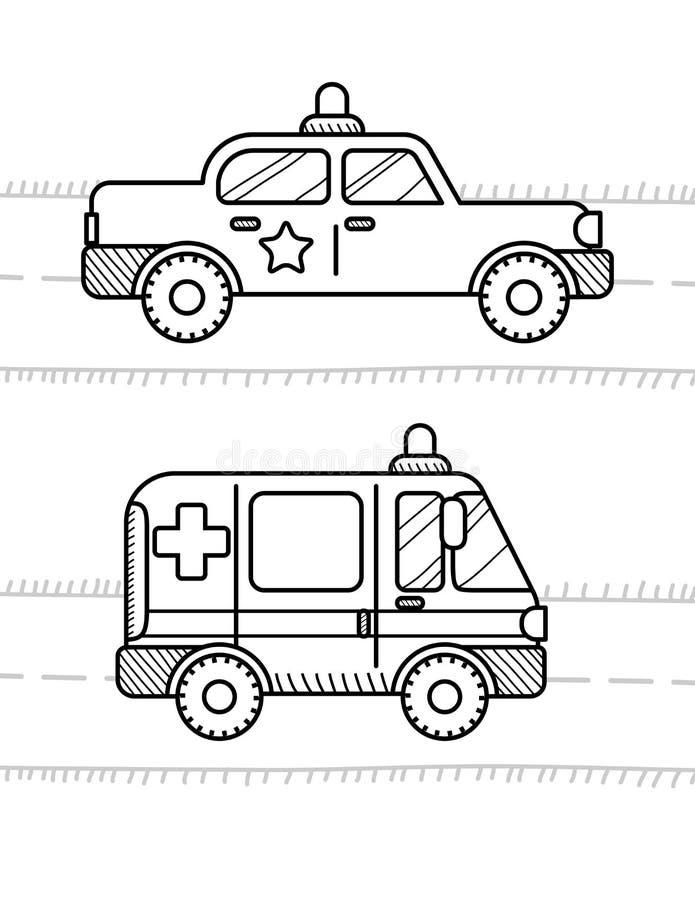 Auto's die boek voor jonge geitjes kleuren Ziekenwagen, politie stock illustratie