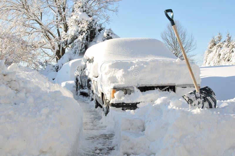 Auto's die in sneeuw worden begraven stock foto's