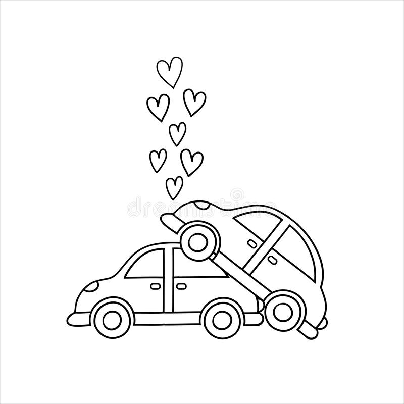 Auto's in liefde Ongevallen en paren vector illustratie