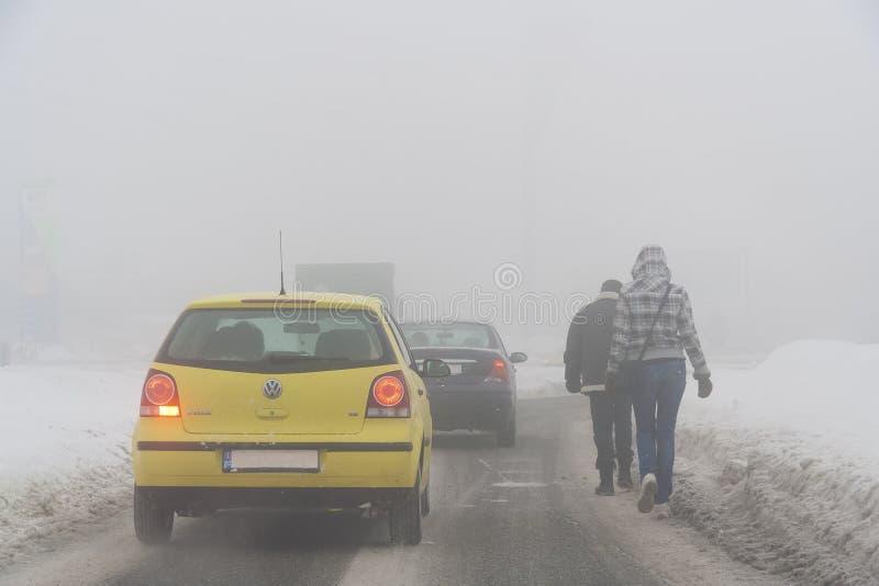 Auto's met sneeuw volledig worden behandeld die stock afbeelding