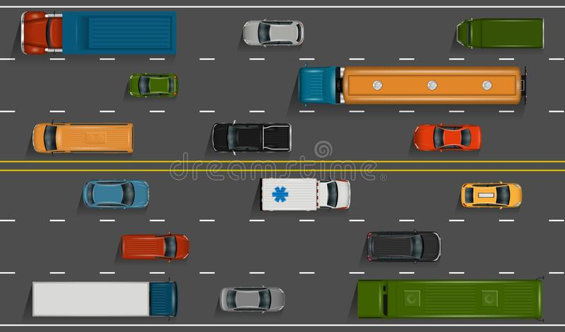 Auto's op de weg vector illustratie