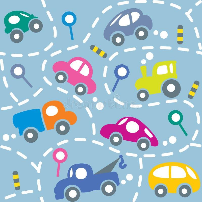Auto's op de weg Naadloos patroon royalty-vrije illustratie