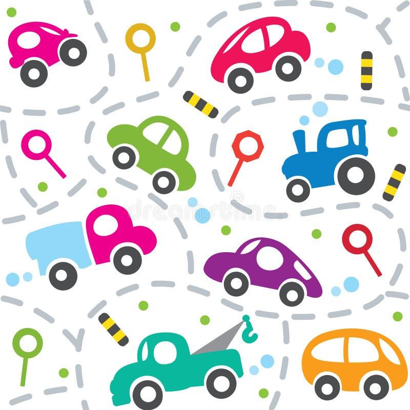 Auto's op de weg Naadloos patroon stock illustratie