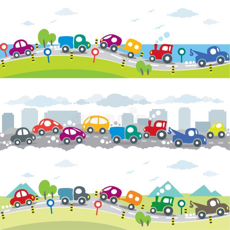 Auto's op de weg Naadloze horizontale patroonreeks stock illustratie