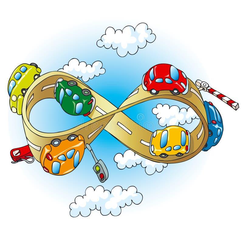 Auto's op oneindige weg vector illustratie