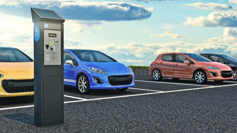 auto's in parkeerterrein stock illustratie
