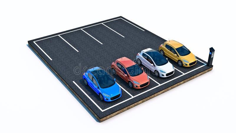 auto's in parkeerterrein vector illustratie