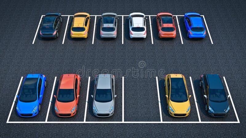 auto's in parkeerterrein royalty-vrije illustratie