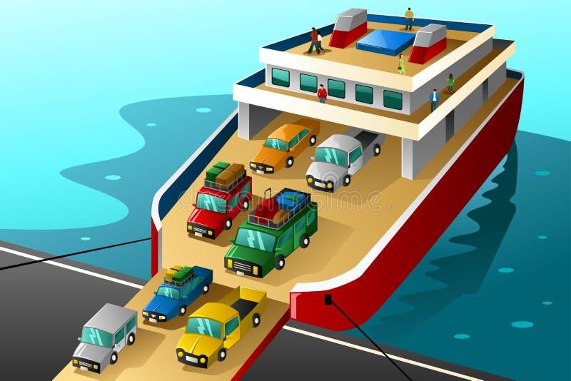 Auto's in vakantie die in een grote veerboot gaan royalty-vrije illustratie