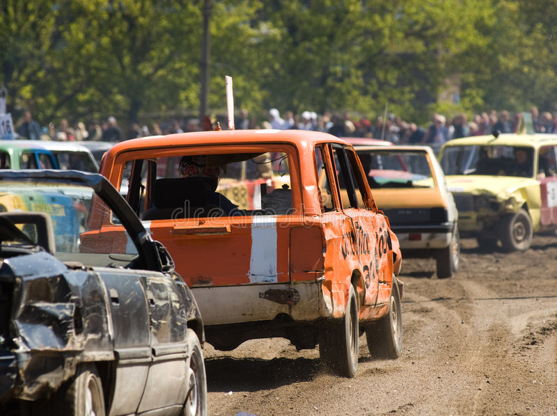 Auto's in vernielingsderby royalty-vrije stock foto's