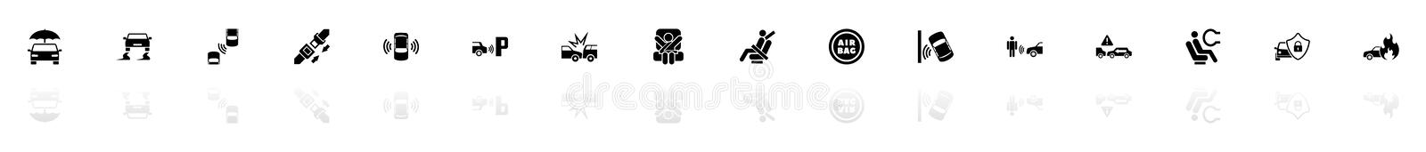 Auto Safety - Flat Vector Icons vector illustration
