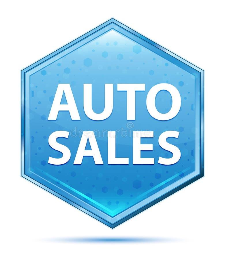 Auto Sales crystal blue hexagon button royalty free illustration