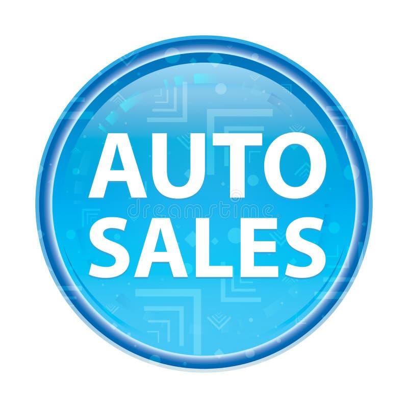 Auto Sales floral blue round button vector illustration