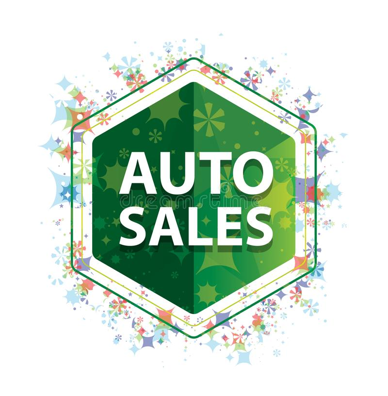 Auto Sales floral plants pattern green hexagon button vector illustration