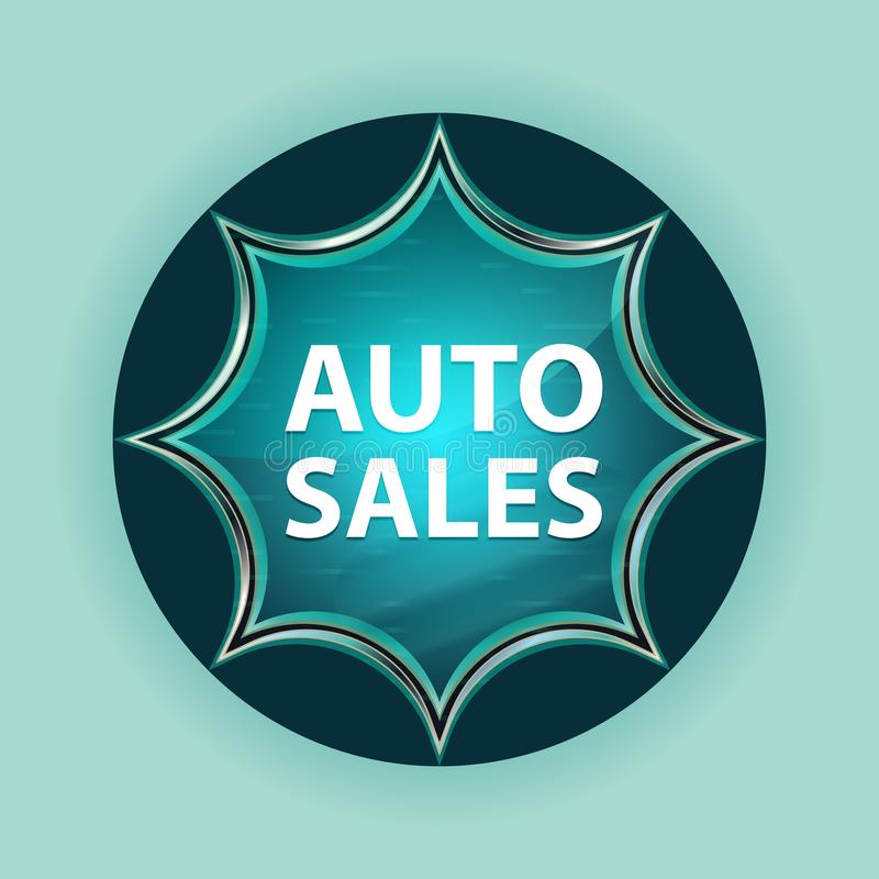 Auto Sales magical glassy sunburst blue button sky blue background royalty free illustration