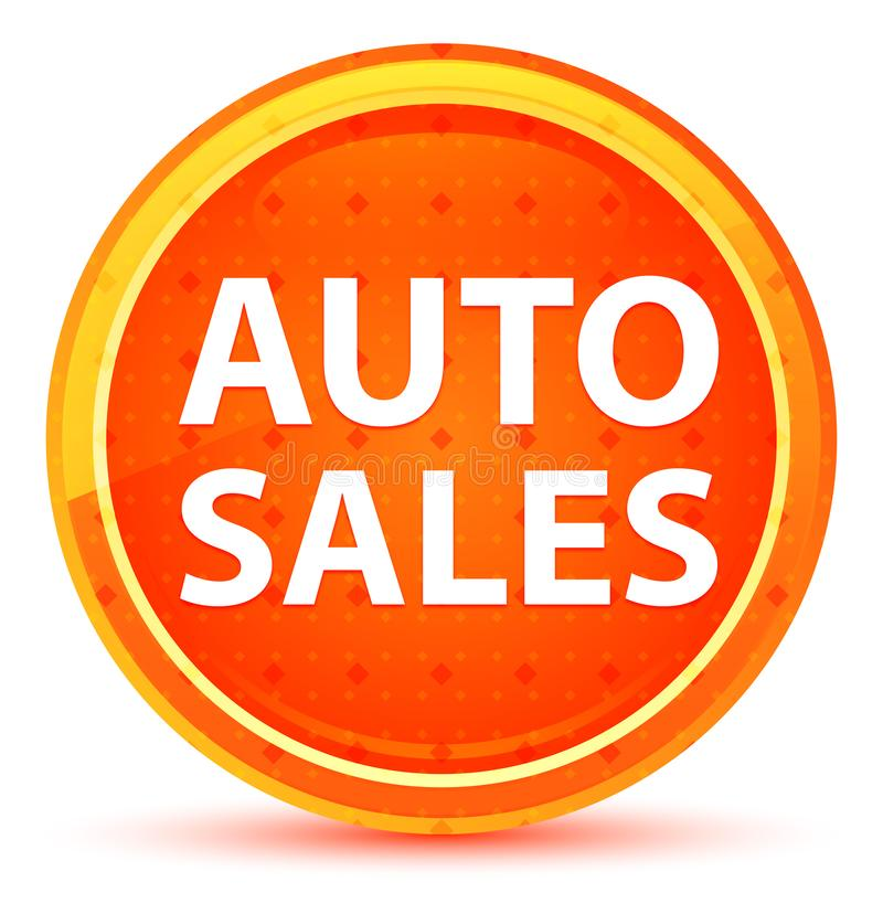 Auto Sales Natural Orange Round Button vector illustration