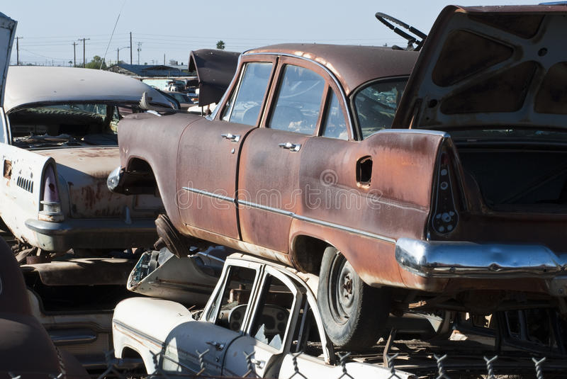 Auto Salvage Yard royalty free stock photography