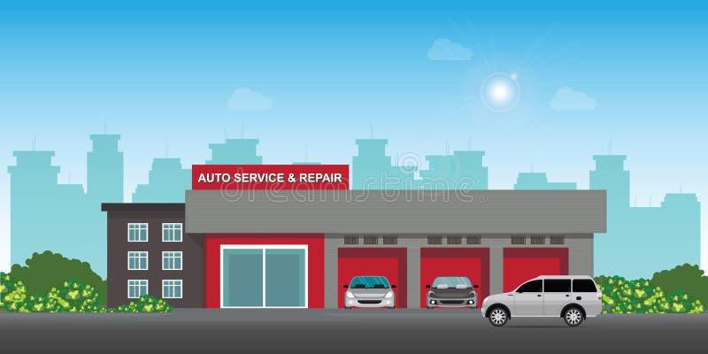 Auto samochód usługa, naprawa i ześrodkowywamy lub garażujemy z samochodami ilustracji