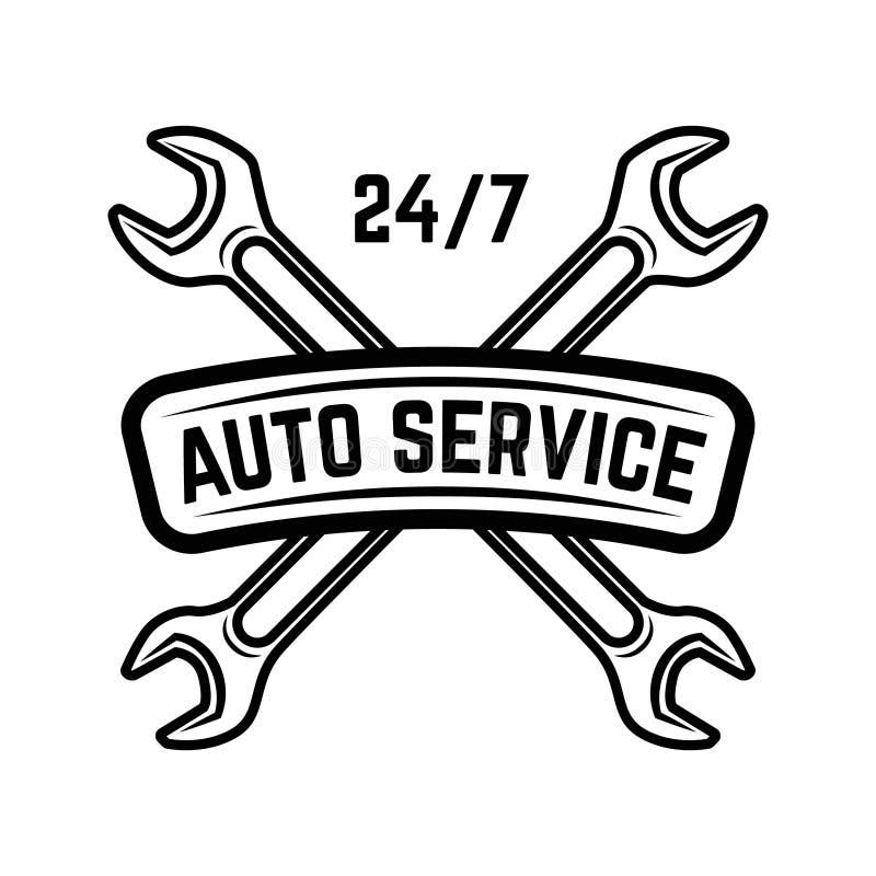 auto samochód wśrodku mechanika usługa działania Stacja obsługi Samochód naprawa Projektuje element dla loga, etykietka, emblemat royalty ilustracja