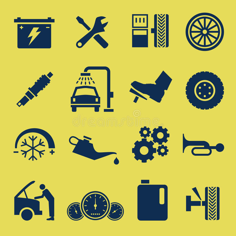 auto samochodowy ikony remontowej usługa symbol royalty ilustracja